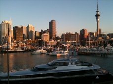 From Wynyard Quarter. Best vantage position is the Viaduct Events Centre public viewing platform