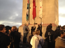 Laying poppies at the Cenotaph.