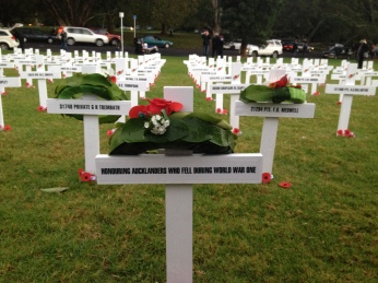 The Field of Remembrance. One white cross for each Auckland soldier who died in WW1.