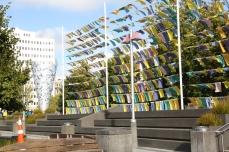 Sarah Hughes' flag wall