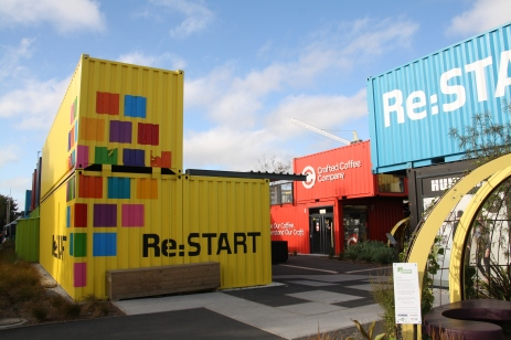 Christchurch has re-invented the uses for shipping containers. This is the Re-Start mall opened just a few moths after the February 2011 earthquake. The container-shops will be moved to other locations when they are replaced by more permanent buildings.
