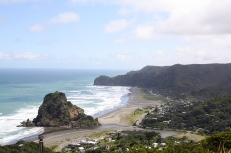 North and South Piha Beaches separated by Lion Rock