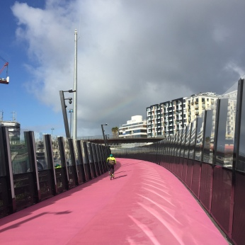 Walk through the city on the pink path